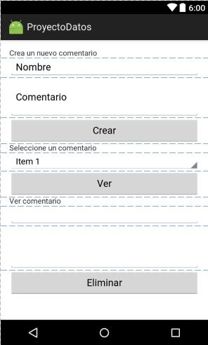 Interfaz App base de datos SQLite