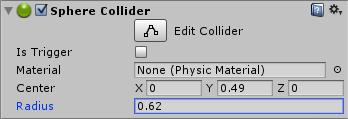 Inspector sphere collider
