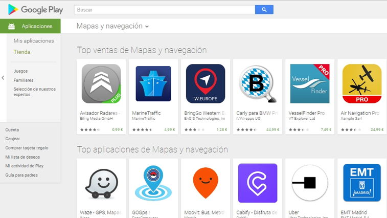 Ejemplo Rankings Apps en Google Play