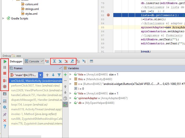 Opciones depuración en breakpoint en Android Studio